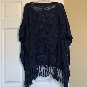 Beautiful Blue Cable Knit Lauren Jeans Co. Poncho